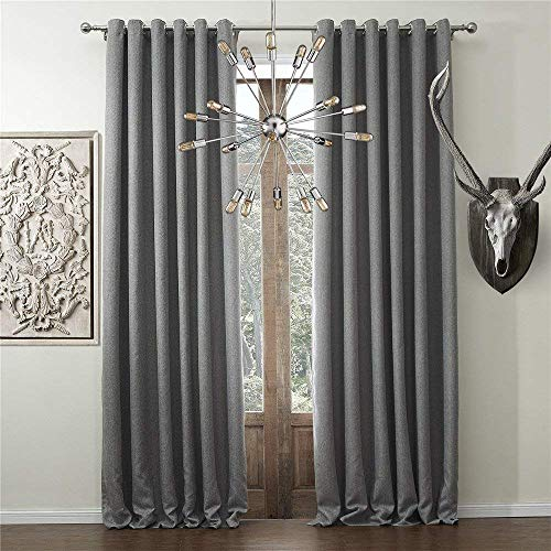 (IYUEGO Solid Faux Linen Classic Room Darkening Grommet Top Curtain Draperies with Multi Size Custom 42