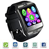 Smart Watch Touch Screen All-in-1 Bluetooth Smartwatch WristWatch and Unlocked Watch Cell Phone with Camera Supports SIM Card Slot for Women Men Boys Android Smartphones (Black)