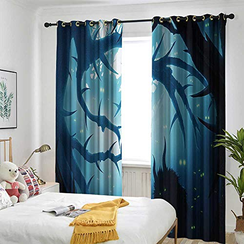 Mystic House Decor Indoor/Outdoor Curtains Animal with Burning Eyes in Dark Forest at Night Horror Halloween Illustration Simple Stylish 108