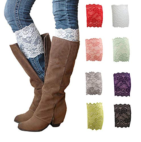 Kaariss Women Thin Lace Floral Boot Cuffs Leg Warmer Socks Pack of 8, One Size, 8 Colors