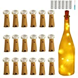 18 Pack Wine Bottle Lights Warm White 20 LED Battery Powered,Bright Lights for Bottles,Cork Bottle,String Lights Indoor,Copper Lights,Light In Bottle,Party Decor,Bottles for Lights