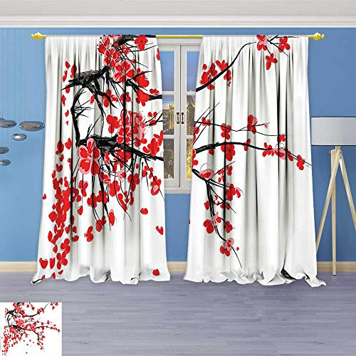 Design Print Thermal Insulated Blackout Curtain Cherry Blossom Sakura Blooms Branch Spring Inspirations Print Red Seal Brown White for Living Room