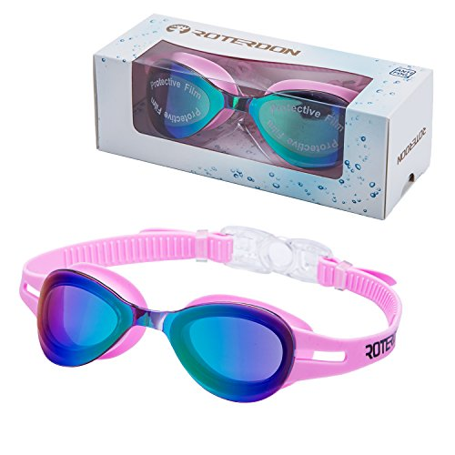 Kid Swimming Goggles Pink,Roterdon Children Swim Goggles Eyes UV Protection Anti Fog Junior Goggle Water Proof For Teens Swim Toddler Fitness Youth Best Goggles Swimming (Pink)