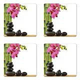 Ambesonne Spa Coaster Set of Four, Beautiful Pink Orchid with Bamboos and Black Hot Stone Massage Image Print, Square Hardboard Gloss Coasters for Drinks, Pink Green and Black