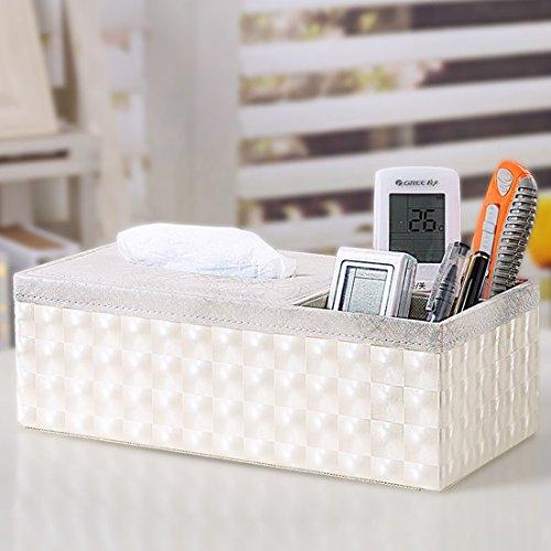 Zubita Tissue Box, Multi-Functional Tissue Napkin Paper Box PU Leather Wooden Fabrics Pens Pencils Phone Holder Tissue Cover Case for Home Office Desk Car Decoration Image Lightning Lines (White)