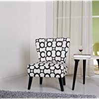 Container Furniture Direct Cora Collection Contemporary Patterned Print Upholstered Living Room Accent Chair, Black/White