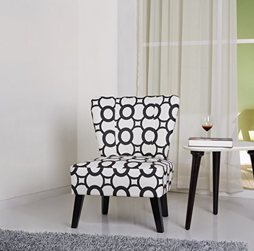 Container Furniture Direct Cora Collection Contemporary Patterned Print Upholstered Living Room Accent Chair, Black White