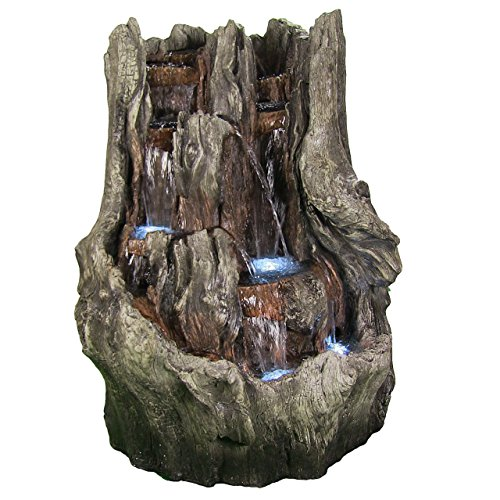 Cascading Mountain Falls Outdoor Water Fountain with LED Lights, 53 Inch Tall by Sunnydaze Decor