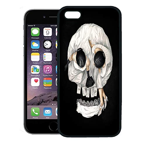 Semtomn Phone Case for iPhone 8 Plus case,Watercolor Gypsy Tarot Reader Girl Optical Skull Portrait Scary Abstract iPhone 7 Plus case -