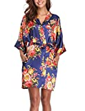 Women's Floral Silk Robes Short Bridesmaids Robes for Wedding Party
