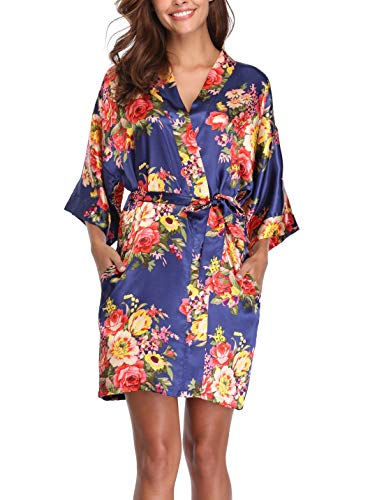 Women's Floral Silk Robes Short Bridesmaids Robes for