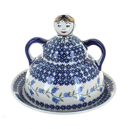 Blue Rose Polish Pottery Tulip Cheese Lady