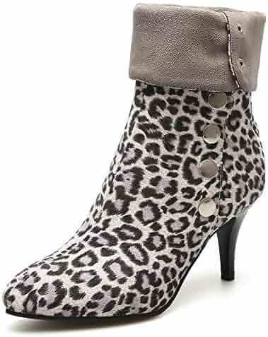 fd8c355df51 SFNLD Women s Chic Leopard Metallic Pointy Toe Pull On Mid Kitten Heel  Short Ankle Boots for