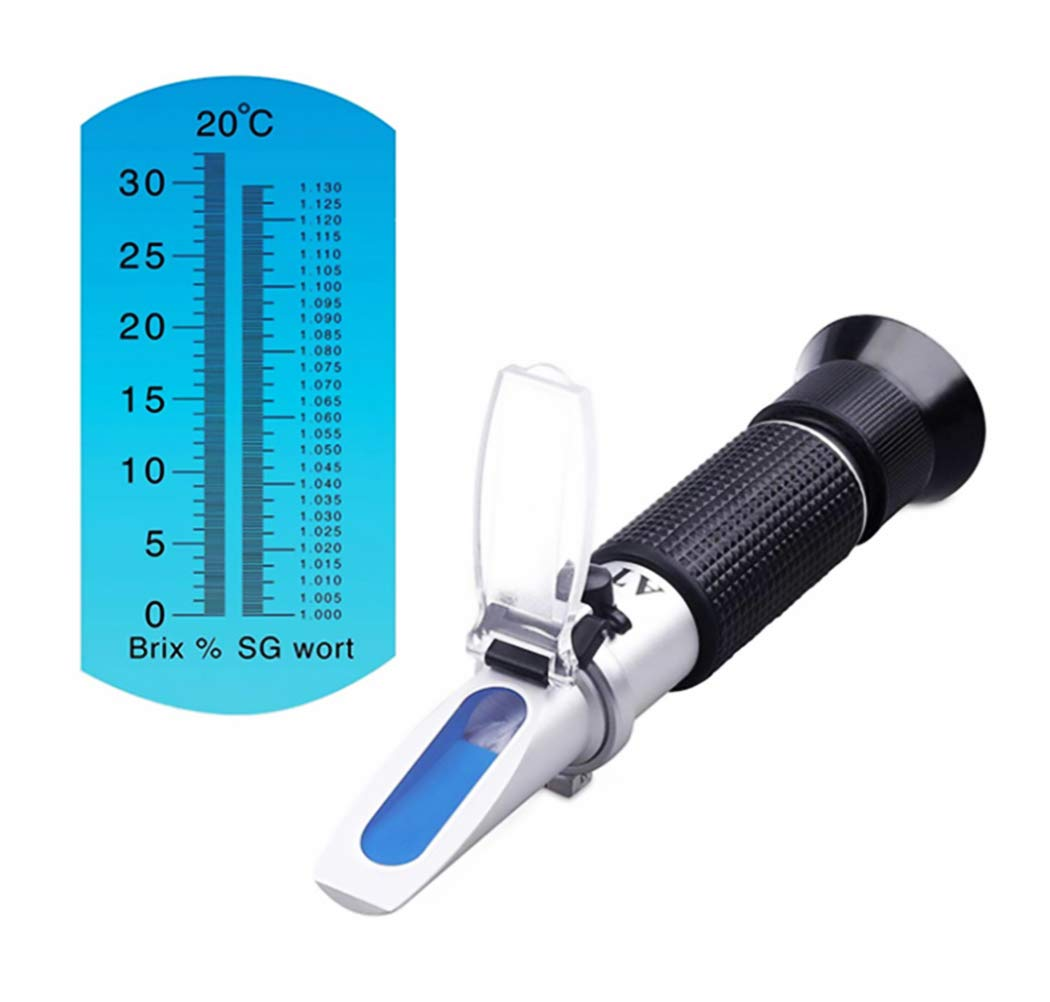 Brix Refractometer with ATC Digital Handheld Refractometer for Homebrew Wort Beer Wine Fruit Sugar, Dual Scale-Specific Gravity 1.000-1.130 and Brix 0-32% (Black)