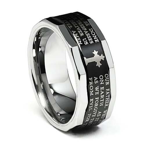 9MM Wellingsale LUXE Series Comfort Fit Wedding Band Ring with Black PVD Coating, Laser Etched Engraved Lords Prayer Passage, Diamond Beveled Edges and Gothic Cross in Brushed and Polished Finish for Men and Women Size - 10