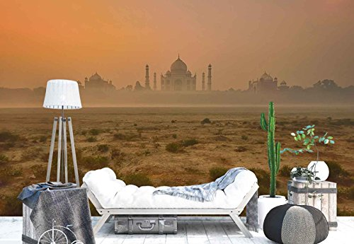 Photo wallpaper wall mural - Taj Mahal Monument Land Panorama - Theme Travel & Maps - XL - 12ft x 8ft 4in (WxH) - 4 Pieces - Printed on 130gsm Non-Woven Paper - 1X-814132V8 by Fotowalls Photo Wallpaper Murals