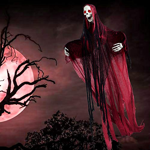 5.6 Ft. Animated Hanging Screaming Ghost Decoration, Halloween Skeleton Grim Reaper Door or Wall Curtain for Haunted House Prop Décor