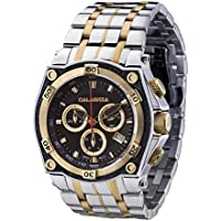 CALABRIA - RIGA- Gold Two Tone Chronograph Men's Watch with Carbon Fiber Bezel & Stainless Steel Band
