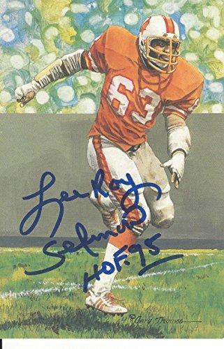 Leroy Selmon Autographed Goal Line Art Card Tampa Bay Buccaneers Hall of Fame inductee 1995 ()