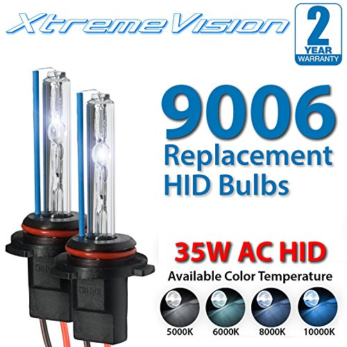 XtremeVision AC HID Xenon Replacement Bulbs - 9006 6000K - Light Blue (1 Pair) - 2 Year Warranty