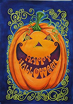 Toland Home Garden Happy Halloween 28 x 40 Inch Decorative Spooky Jack-o-Lantern Pumpkin House Flag