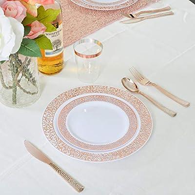 230 Piece Rose Gold Plates /& Plastic Silverware Disposable Dinnerware 30 set
