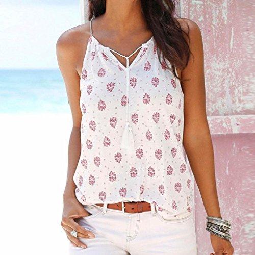 Verano Chaleco Mujer SMARTLADY Impresión Tops Camiseta Sin mangas Blanco