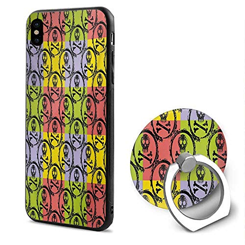 Multi Circles Coloured - Grunge iPhone x Cases,Skulls and Crossbones with Circles Design Vibrant Colored Background Vintage Pattern Multicolor,Mobile Phone Shell Ring Bracket