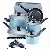 Farberware 21894 Dishwasher Safe Nonstick 15-Piece Cookware Set, Aqua