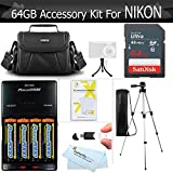 64GB Accessory Kit For Nikon Coolpix B500, L840, L830, L820, L340, L330, Digital Camera Includes 64GB High Speed SD Memory Card + 4AA Rechargeable NIMH Batteries + Rapid Charger + Case + Tripod ++