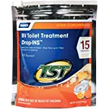 Camco TST Ultra-Concentrated Citrus Scent RV Toilet Treatment Drop-Ins, Formaldehyde Free, Breaks Down Waste And Tissue, Septic Tank Safe, Treats up to 15 - 40 Gallon Holding Tanks (15-Pack)