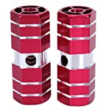 """BMX Bike Bicycle 3/8"""" Axle Alloy Foot Pegs (Red)"""