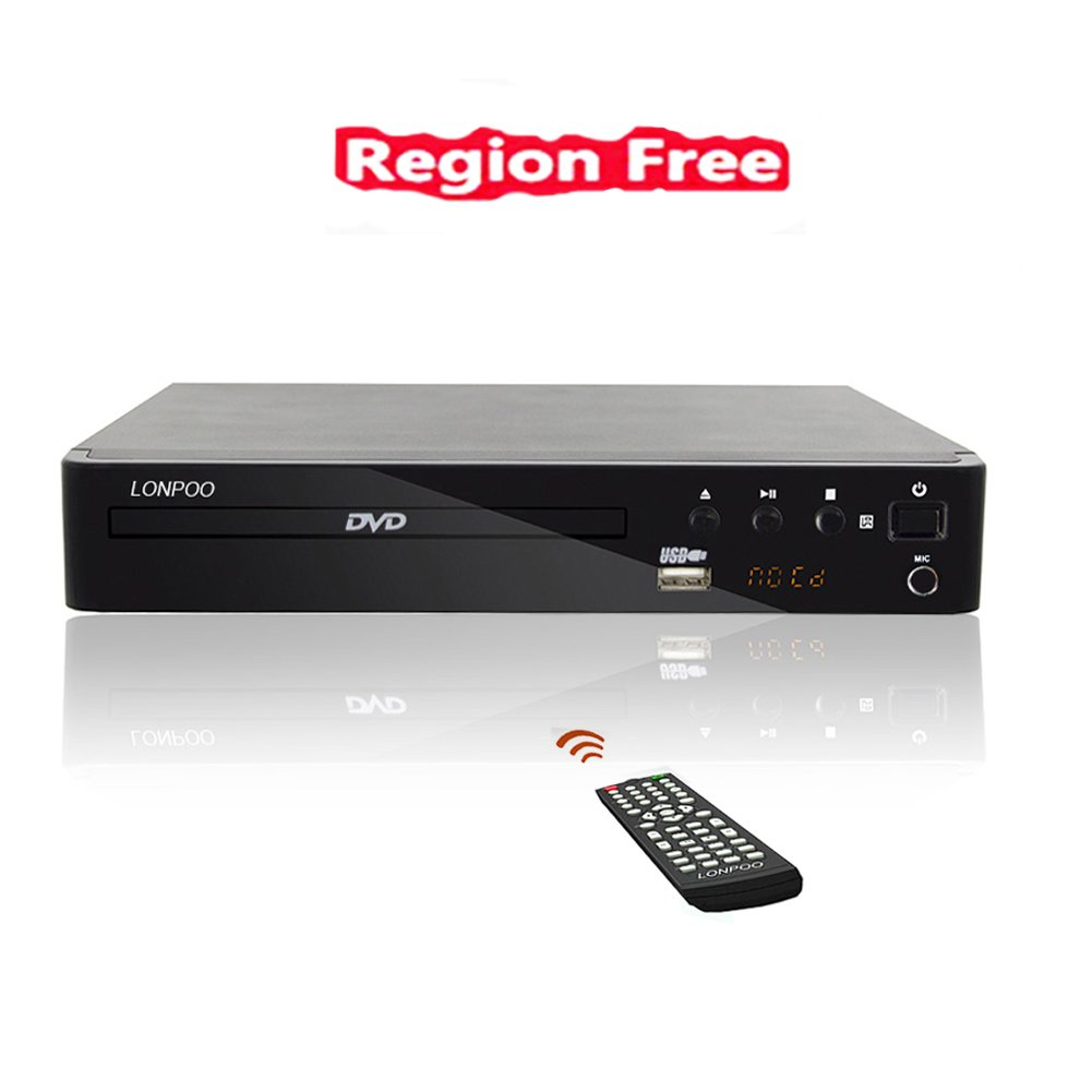LONPOO Compact HD DVD Player (All Region Free, PAL/NTSC, 720p, HDMI/ MIC/ RCA/ USB ports, Full-function Remote) LP-099