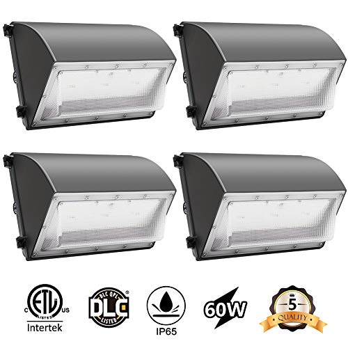 CINOTON LED Wall Pack Light, Outdoor Security Lighting 60W 7200lm, Daylight White 5000K Dusk to Dawn Photocell, Waterproof IP65 Commercial Lighting Fixture,125W-500W HPS/MH Replacement, ETL DLC List