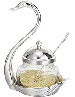 Cozyle - Recipiente de especias para salero o azúcar, con cuchara para servir large plata