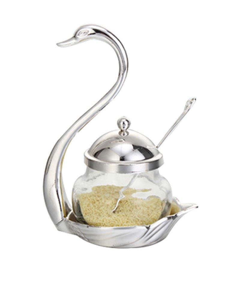 Cozyle condimento contenitore barattolo in vetro per spezie sale pepe zuccheriera caffè Swan cremagliera condimento pot con cucchiaio L Silver