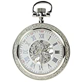 ZIJAE Antique Style Open Face Silver Mechanical Men's Pocket Watch Pendant with Chain