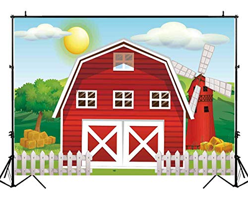 Barn Scene Setter - Funnytree 7x5ft Durable Fabric Cartoon Red