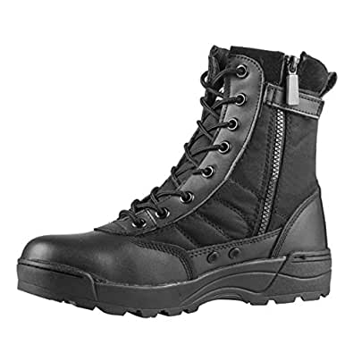 VFDB Men Military Tactical Combat Boots Lace up Desert Boots Side-Zip Outdoor Hiking Boot US 7