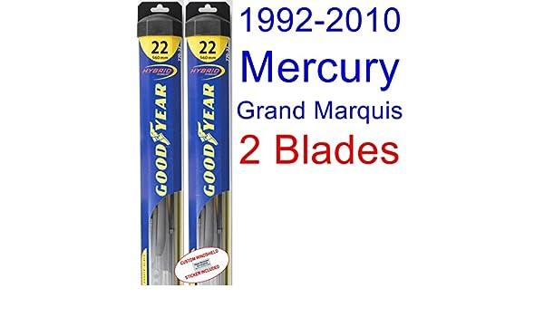 1992 - 2010 Mercury Grand Marquis de repuesto para limpiaparabrisas Set/Kit (Goodyear limpiaparabrisas blades-hybrid) (1993,1994,1995,1996,1997,1998,1999 ...
