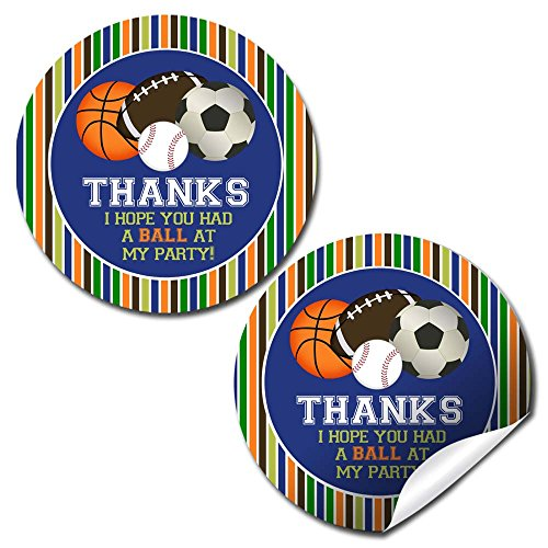All Star Sports Birthday Thank You Sticker Labels, 40 2
