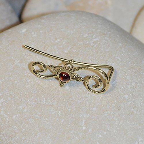 RING // 3mm Garnet Ear Cuff - Ear Pins - Minimalist Jewelry - Ear Sweep - Earcuff Earrings ()