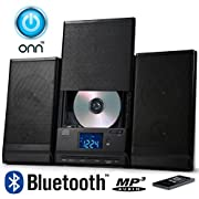 ONN Bluetooth Audio Compact Home CD Music Shelf System Limited Edition Vertical-loading with Stereo Dynamic Speakers ONA-015