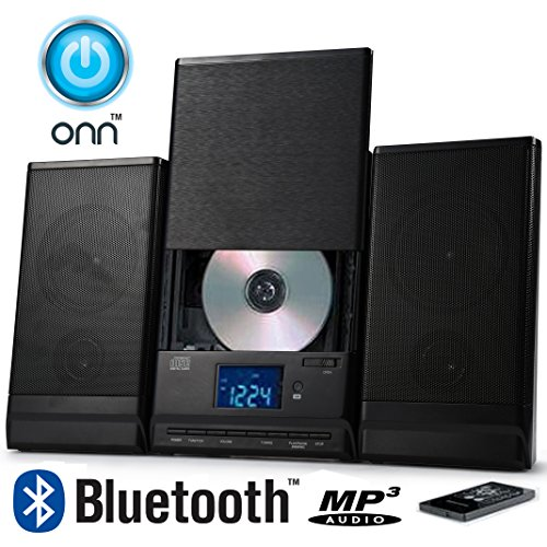 ONN Bluetooth Audio Compact Home CD Music Shelf System Limited Edition Vertical-loading with Stereo Dynamic Speakers ONA-015 (Refurbished)