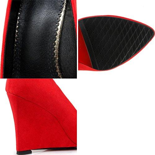 Femme Avec Bouche des Automne Pointu Rouge pour Pente Givré Talons Femmes Profonde Peu Hauts Printemps Et Chaussures zpqAIx0w