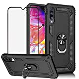 BestShare for Samsung Galaxy A70 Case & Tempered Glass Screen Protector, Rugged Hybrid Armor Anti-Scratch Shockproof Kickstand Cover Compatible Magnetic Car Mount Ring Grip, Black Best Share