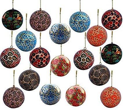 Buy Set of 18 Paper Mache Indian Wooden Christmas