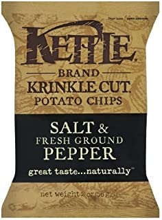 product image for Kettle Krinkle Cut Salt and Fresh Ground Pepper Potato Chips - 2 oz. bag, 24 per case