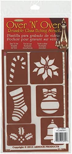 Armour Products Plastic Over N Over Reusable Stencils 5-inch x 8-inch Christmas 2 by Armour Products