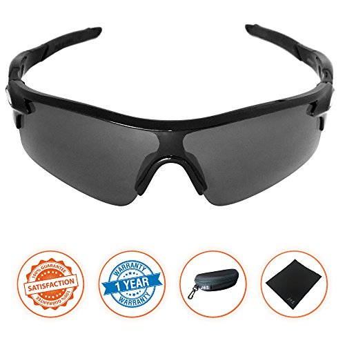J+S Active PLUS Cycling Outdoor Sports Athlete's Sunglasses, 100% UV protection (Black Frame / Black Lens) (Sunglasses For Men Sports)